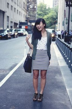 JennifHsieh Outfit | Olive Green Blazer Cardigan, Black and White Polka Dot Top, Striped Skirt, Black Shoulder Bag, Madewell Sandals