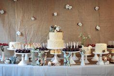 Burlap backdrop w/ different vintage flowers! Burlap Backdrop, Diy Backdrop, Photo Booth Backdrop, Backdrops, Burlap Background, Dessert Bar Wedding, Wedding Desserts, Wedding Cakes, Wedding Desert Bar
