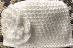 "Boutique Infant baby girl crochet flower photo Hat White beanie jsuey123 15""    eBay"