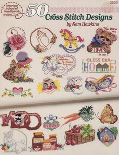 50 Cross Stitch Designs by Sam Hawkins, American School of Needlework Counted Cross Stitch Booklet #3555