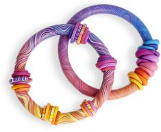 Polymer Clay Daily: Eva Haskova will be teaching these Wavy Bangles at September's EuroClayCarnival in Madrid. bracelet, craft supplies, clay daili, polym bangl, polym clay, polymer clay
