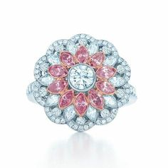 Floral ring with pink and white #diamonds in 18k rose gold and platinum. http://www.jangmijewelry.com/