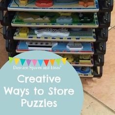 Puzzles are a staple in most home daycare spaces. They can be a challenge to store, as their pieces call fall out so easy. I've gathered some creative ways for you to organize the puzzles in your. Daycare Spaces, Home Daycare, Preschool At Home, Opening A Daycare, Puzzle Storage, Family Day Care, Creative Storage, Kids Decor, Childcare