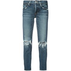 Moussy distressed cropped jeans ($312) ❤ liked on Polyvore featuring jeans, blue, destruction jeans, blue jeans, torn jeans, distressed jeans and cropped jeans