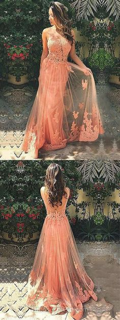 Coral Prom Dress, Long Prom Dresses, Princess Evening Dresses, Tulle Party Dresses, Open Back Formal Dresses