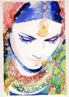 indian fashion illustration in watercolour