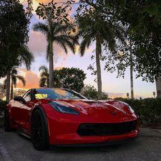 #corvette #red #sunset #miami