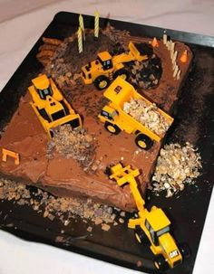 Construction birthday cake idea 1st and 3rd birthday combined