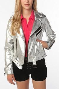 Tripp NYC Silver Faux Leather Moto Jacket as seen on Lily Aldridge
