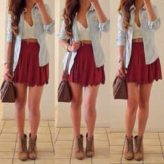 Boots and skirts and adorable ☽