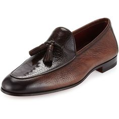 Neiman Marcus Ostrich/Leather Tassel Loafer ($595) ❤ liked on Polyvore featuring men's fashion, men's shoes, men's loafers, brown, mens ostrich shoes, mens tassel shoes, neiman marcus mens shoes, mens loafer shoes and mens tassel loafer shoes