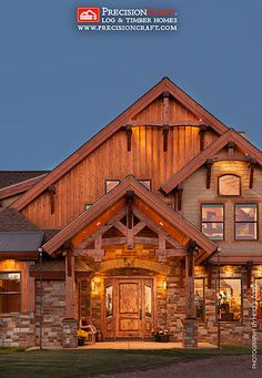 Front Entry to this Custom Timber Frame Home | PrecisoinCraft Arizona Timber Home