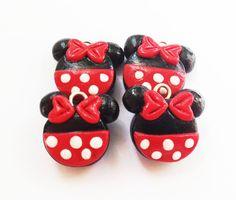 Minnie or Mickey charms polymer clay handmade charms via Etsy