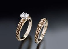 Antique vintage style art deco wedding and engagement rings in gold and platinum with diamond elegance are still being made by a 100 year-old studio using old-world tools and techniques. - Timeless Taper Leaf three dia. 18k gold matching set, starting $2695 engagement ring, center dia. extra, wedding ring $2475