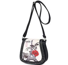 BIBITIME Hollow Leaves Paris Tower Flower Print Beach Shoulder Crossbody Messenger Bag Cross Body Bag Travel Bag Back to School University College Campus Bag Shopping Bag 787 709 354 IN Black ** Learn more by visiting the image link.