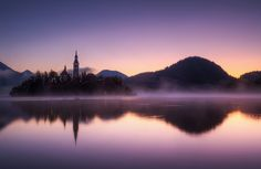 """Dawn at Lake Bled"", The Pilgrimage Church of the Assumption of Mary (15th century), Slovenia"