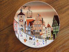 Vintage Poole Pottery England Bavarian Scene Transfer Decorative Plate