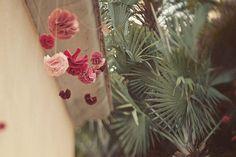 pink paper flower decorations.
