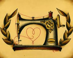 Image result for sewing machine tattoo. This be a very pretty design on a Sewing Machine Cover.