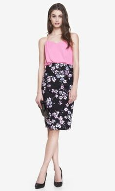 CHERRY BLOSSOM HIGH WAISTED PENCIL SKIRT from EXPRESS