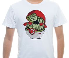 Camiseta Básica na cor Branco - Ilustração Green PokeHouse por Donnie
