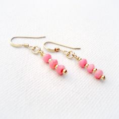 Pink Coral Earrings Yellow Gold Jewelry Pink by jewelrybycarmal, $22.00