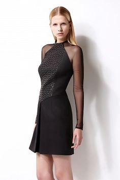 Fern cocktail dress - long raglan mesh sleeves - laser cut leather panel - open pleat skirt - double lined #womenswear