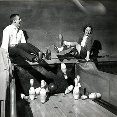 Dodging bowling pins, 1951