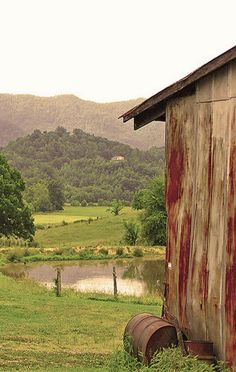 The Countryside & Old Barn By Pond