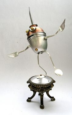 Klootz - 4 Found Object Robot Assemblage Sculpture By Brian Marshall by adopt-a-bot, via Flickr