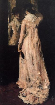 The Mirror -  Artist: William Merritt Chase - Completion Date: c.1883 -  Style: Impressionism -  Genre: portrait -  Technique: oil -  Material: canvas -  Gallery: Private Collection - http://www.wikiart.org/en/william-merritt-chase/the-morning-news