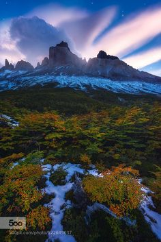 The Other Side: Moonrise Over the Cuernos by Dave Morrow
