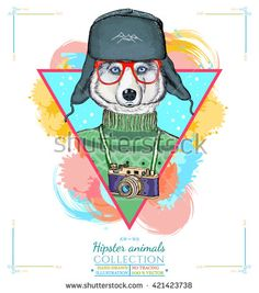 Portrait of fashion husky dog, hipster animals husky in a hat hand drawn vector illustration