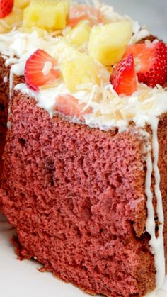 Red Velvet Angel Food Cake smothered with the most heavenly Coconut Cream Cheese Glaze ~