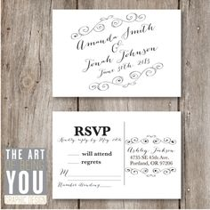 Diy wedding rsvp postcard template instant download for Rsvp stand for on an invitation