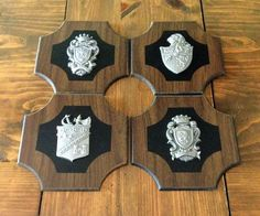 cde3a4a2bf12 Vintage Set of 4 Medieval Pressed Wood Shield Wall Plaques