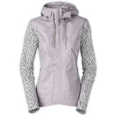 The North Face Women's Dyvinity Jacket featuring polyvore, women's fashion, clothing, activewear, activewear jackets, metallic silver and the north face