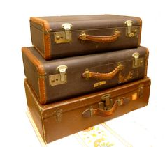SOLD**************************************3 Leather trimmed vintage suitcases by Crybabe on Etsy, 60.00