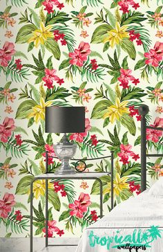 Jungle Flowers Wallpaper - Removable Wallpapers - Floral Palm Leaf Wallpaper - Self Adhesive Wall Decal - Temporary Peel and Stick Wall Art Palm Leaf Wallpaper, Flower Wallpaper, Peel And Stick Wallpaper, Jungle Flowers, Stick Wall Art, Basement Remodeling, Wall Decals, How To Remove, Quilts