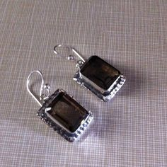 NEW smokey topaz 925 silver earrings Around 1'50 inches Long.  Faceted stamped 925 beautiful craftsmanship Jewelry Earrings