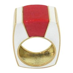 French Gold Ring Embellished with White Enamel and Coral (=)