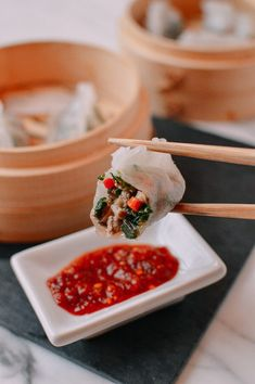 Steamed Crystal Dumplings, A Dim Sum Classic recipe by The Woks of Life Dumpling Dough, Dumpling Filling, Dumpling Recipe, Dumplings, Hot Chili Oil, Dumpling Wrappers, Wok Of Life, Asian Recipes, Chinese Recipes