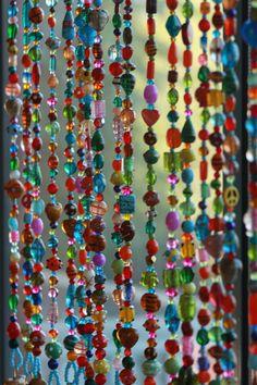 Beaded curtain-bohemian decor-rainbow color beaded door