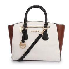 #MichaelKors #CheapMichaelKors Michael Kors Sophie Large White Brown Satchels $74.99 Cheap Sale