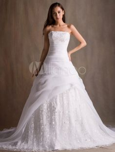 White A-line Strapless Sequin Chapel Train Bridal Wedding Dress - Milanoo.com