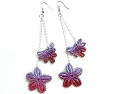 dyed lace earrings
