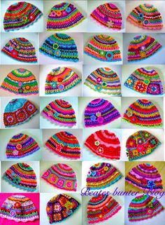 multicolored crochet hats