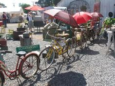 Instead of rope or ugly orange fence,  use colorful vintage bicycles fastened together.