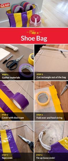 Get the most out of your Glad® products with more than 100 creative ways to use them. Shoe Crafts, Sewing Crafts, Crafty Projects, Sewing Projects, Duck Tape Crafts, Activities For Teens, Diy Cutting Board, Feed Bags, String Bag