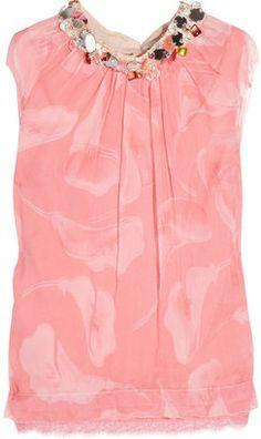 Nina Ricci Embellished floral-print silk-chiffon top